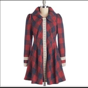 Ryu Plaid, Peplum, Red & Blue Coat w/ Lace Detail